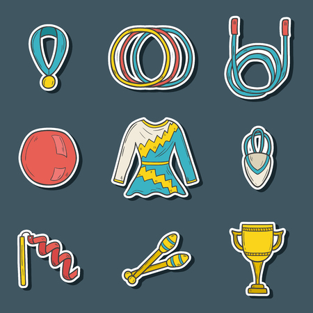 gymnastics: Set of cartoon hand drawn stickers on gymnastics theme