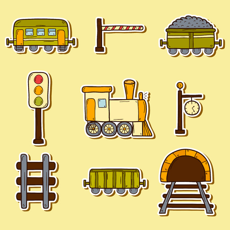 train tracks: Set of hand drawn railroad stickers: wagons, semaphore, railway station clock, locomotive, barrier, tunnel. Transport shipping delivery or travel concept Illustration