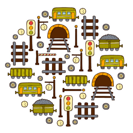 hand rails: Vector background with hand drawn railroad objects: wagons, semaphore, railway station clock, locomotive, barrier, tunnel. Transport shipping delivery or travel concept for your design