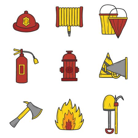 Set of cartoon hand drawn firefightering objects Illustration