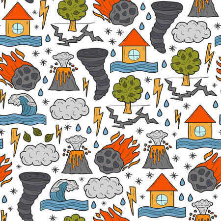 volcano mountain: Seamless cartoon hand drawn background on natural disaster theme