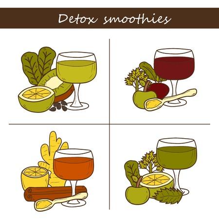 detox: set of carrot detox smoothies ingredient drawing Illustration