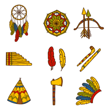 american indian aztec: Set of cartoon hand drawn icons on injun theme: tomahawk, feather, canoe, bow, arrow, hat, mandala, flute, pipe, dreamcatcher. Native american concept for your design