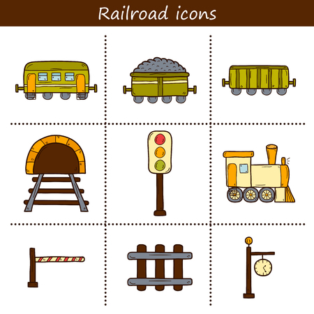 cargo train: Set of hand drawn railroad icons: wagons, semaphore, railway station clock, locomotive, barrier, tunnel. Transport shipping delivery or travel concept