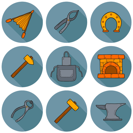 smithery: Set of cartoon icons in hand drawn style on blacksmith theme: horseshoe, sledgehammer, vise, oven for your design Illustration