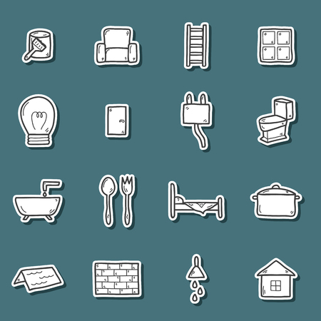 home repair: Set of hand drawn stickers on home repair theme Illustration