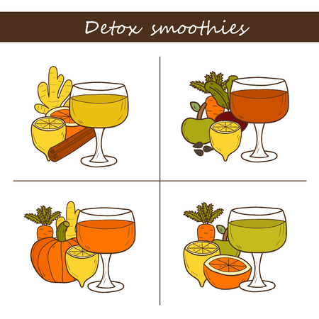 cleansing: Set of hand drawn objects on detox smoothies recipes theme. Raw vegan concept Illustration