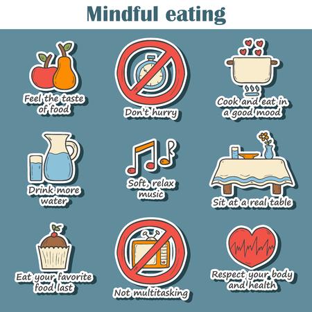 cerebro: Conjunto de dibujados a mano pegatinas de dibujos animados sobre las normas de alimentaci�n consciente tema