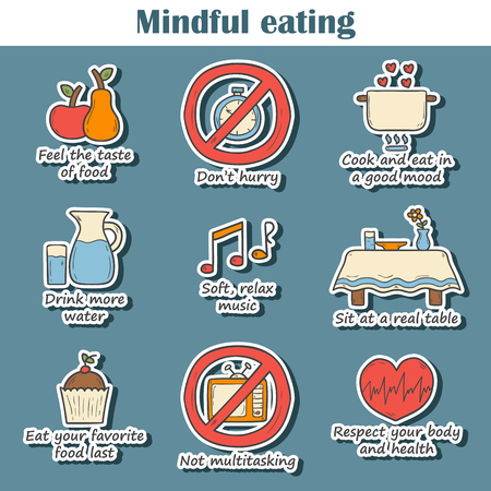 Set of hand drawn cartoon stickers on mindful eating rules theme