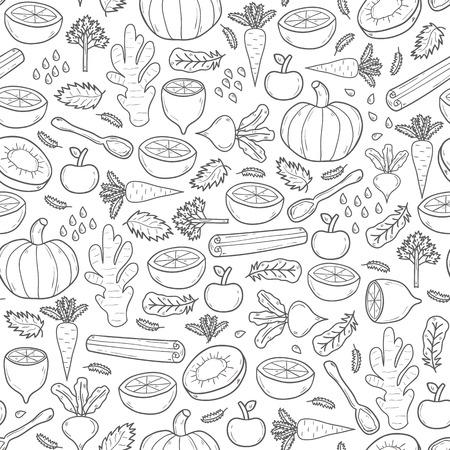 detox: Seamless hand drawn background on detox theme. Raw vegan concept Illustration
