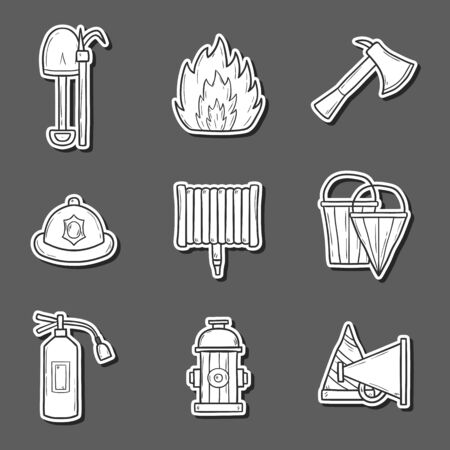 flames of fire: Set of cartoon hand drawn firefightering objects Illustration