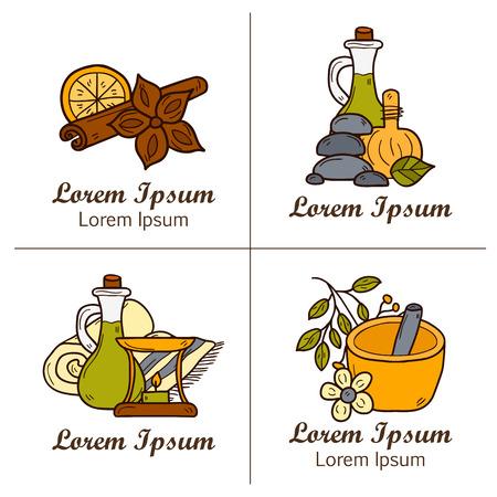 especias: Auyrveda la salud y el concepto de trato en el estilo dibujado a mano: hierbas, piedras, aceite, especias, aromaterapia, toalla