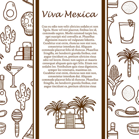 mexico beach: Vector travel concept with hand drawn objects and mexican seamless background on Mexico theme: rum, coctail, sugar cane, coffee, guitar, cigar for your design Illustration