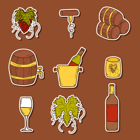 red wine bottle: Set of cartoon wine stickers in hand drawn style: bottle, glass, barrel, grapes, corkscrew. Vineyard or restaurnt concept for your design