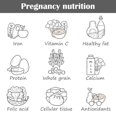 pregnancy exercise: Set of cartoon hand drawn pregnancy nutrition objects