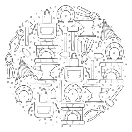 smithery: Vector background with objects in hand drawn style on blacksmith theme: horseshoe, sledgehammer, vise, oven for your design