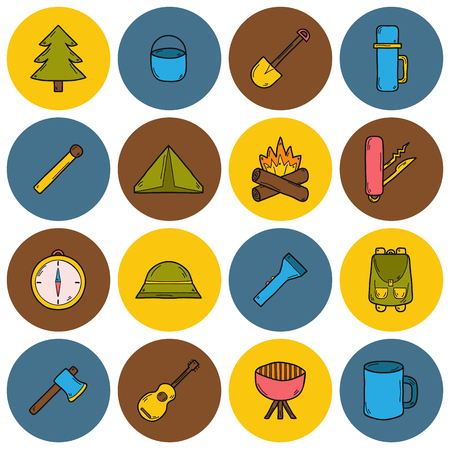 expedition: Set of camping icons in hand drawn style: tent, flashlight, match, compass, thermos. Expedition concept Illustration