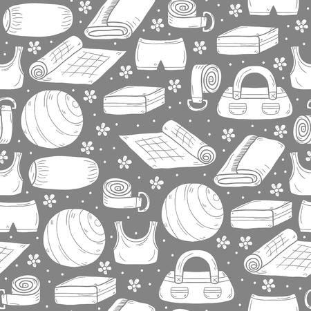 pelota caricatura: Seamless equipos de yoga fondo en el estilo de dibujado a mano: bola, uniforme, cintur�n, esterilla, toalla, rodillo. Concepto de estilo de vida saludable