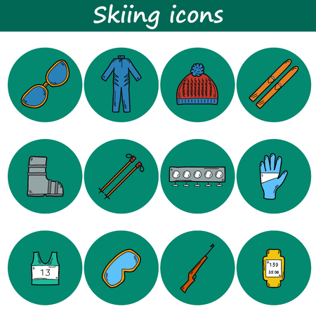 ski wear: Set of hand drawn skiing icons: ski, hat, boots, glasses, rifle. Sport ot outdoors concept