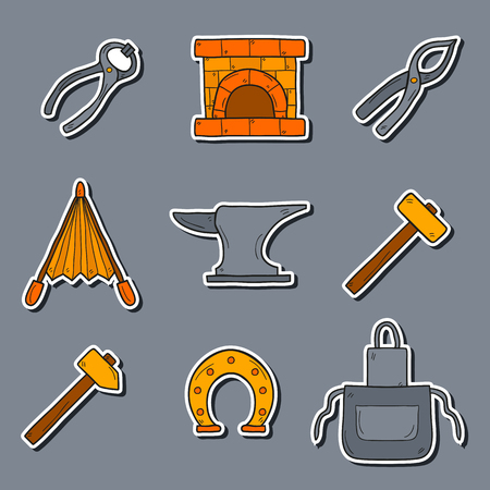 smithery: Set of cartoon stickers in hand drawn style on blacksmith theme: horseshoe, sledgehammer, vise, oven for your design
