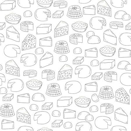 gouda: Seamless hand drawn background on cheese types theme Illustration