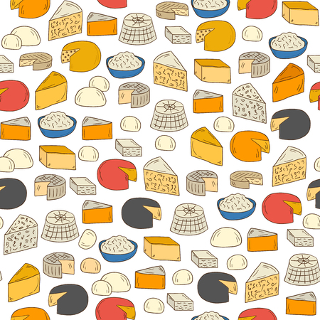 Seamless hand drawn background on cheese types theme Illustration