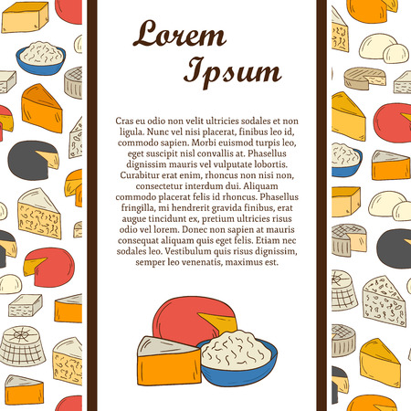 brie: Vector concept with seamless background and hand drawn objects on cheese types theme