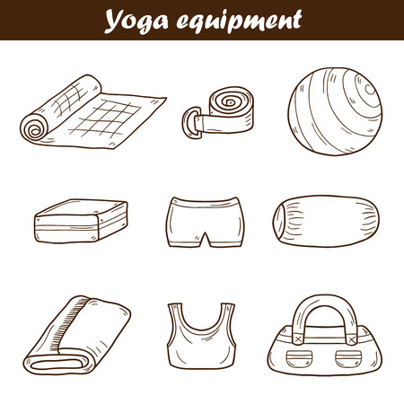 relaxation exercise: Set of yoga equipment icons in hand drawn style: ball, uniform, belt, mat, towel, roller. Healthy lifestyle concept Illustration