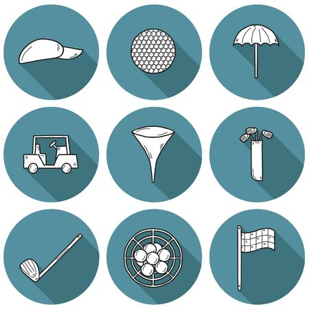 car flag: Set of hand drawn golf icons: ball, hat, car, flag. Outdoors activity sport concept