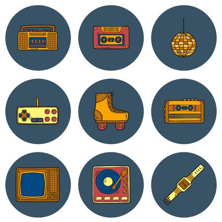 80's: Set of cartoon hand drawn icons on retro 80s theme Illustration