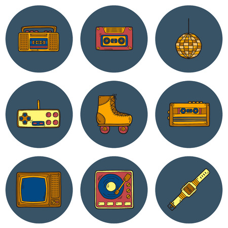 Set of cartoon hand drawn icons on retro 80s theme Illustration