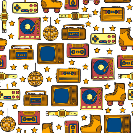 Seamless hand drawn background on retro 80s theme 일러스트