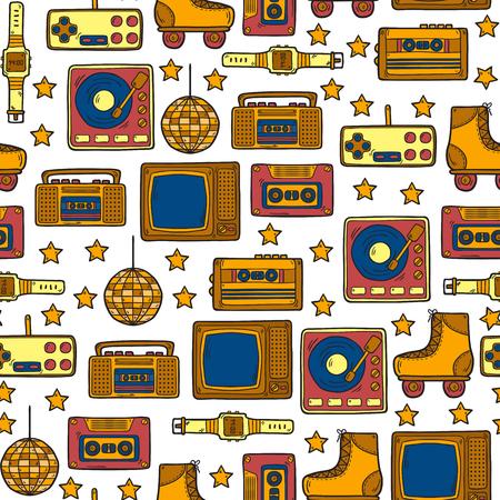 80's: Seamless hand drawn background on retro 80s theme Illustration