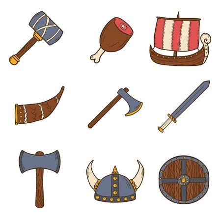 cartoon warrior: Set of cartoon hand drawn icons on viking theme Illustration