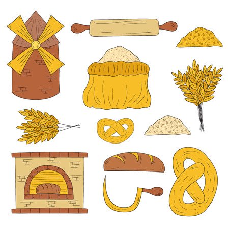 flour: Set of hand drawn bread harvest objects: loaf, flour, furnace, mill