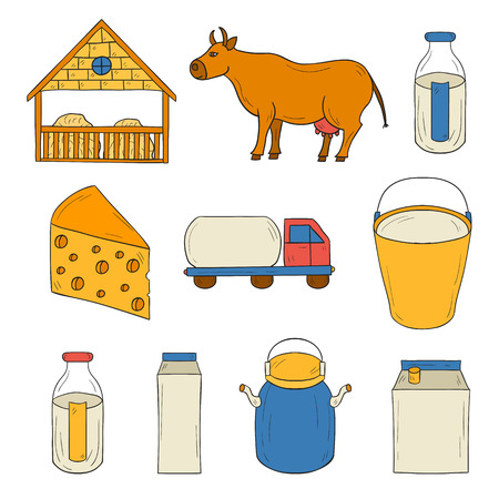 milk pail: Set of hand drawn milk production icons for your design