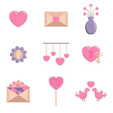 enamorados caricatura: Icono feliz D�a de San Valent�n en estilo de dibujos animados Vectores