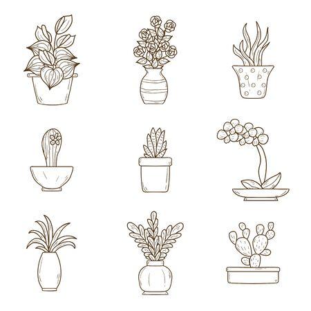 houseplant: Set of cute cartoon hand drawn houseplants icons
