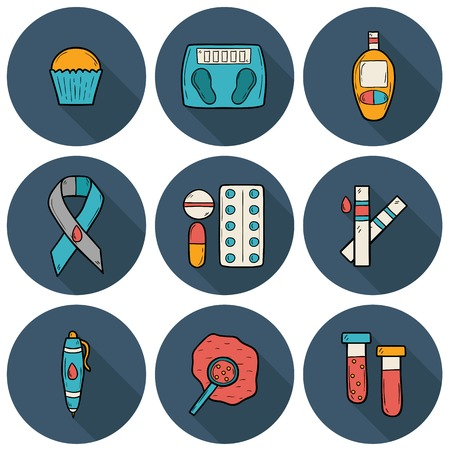 blood sugar: Set of cartoon icons on diabetes theme in hand drawn style