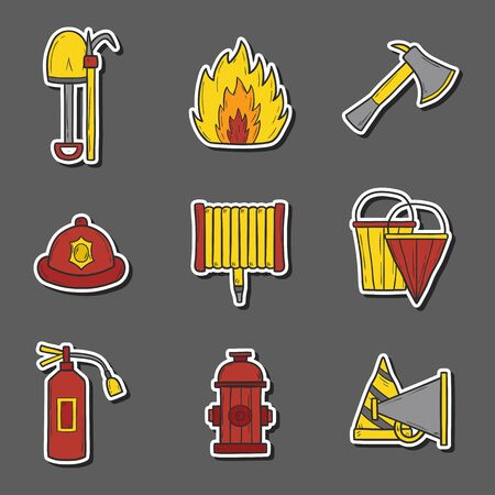 cartoon axe: Set of cartoon hand drawn firefightering objects Illustration