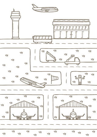 wingspan: Vector concept on airport theme with hand drawn cartoon objects Illustration