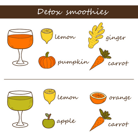 detoxing: Detox smoothie recipe in hand drawn style