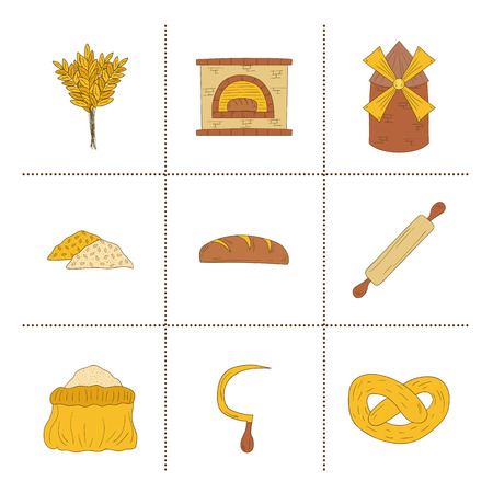 furnace: Set of hand drawn bread harvest objects: loaf, flour, furnace, mill