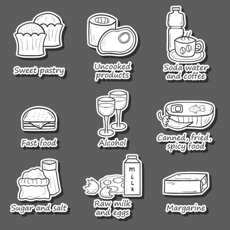 Set di cibo per evitare durante la gravidanza in disegnata a mano dtyle