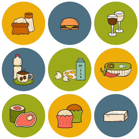 avoid: Set of food to avoid during pregnancy in hand drawn dtyle