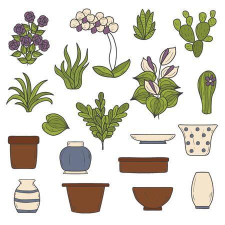 houseplants: Set of cute cartoon hand drawn houseplants icons