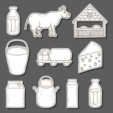 milk production: Set of hand drawn milk production stickers for your design