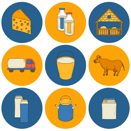 milk production: Set of hand drawn milk production icons for your design