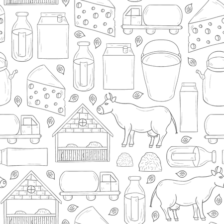 milk pail: Seamless hand drawn milk production background for your design