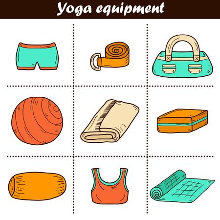 pelota caricatura: Conjunto de iconos de equipo de yoga en el estilo de dibujado a mano bola, uniforme, cintur�n, esterilla, toalla, rodillo. Concepto de estilo de vida saludable